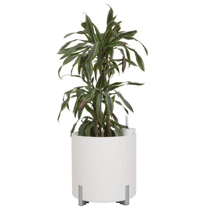 Jardinera hidrante modular redonda blanca patas plateadas | Mediterráneo