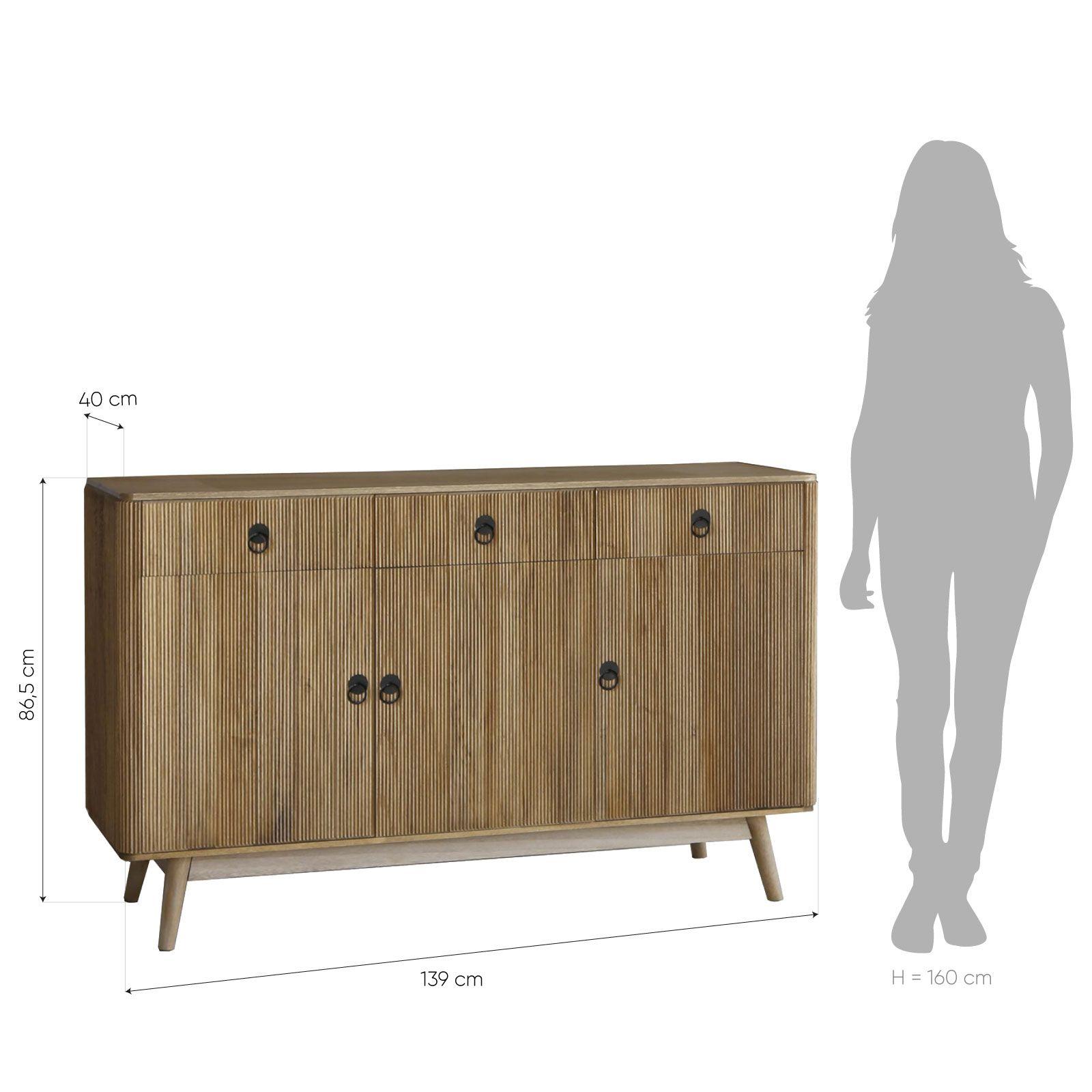 Buffet en bois de paulownia (139 x 40 x 86.5) | Série Lessime