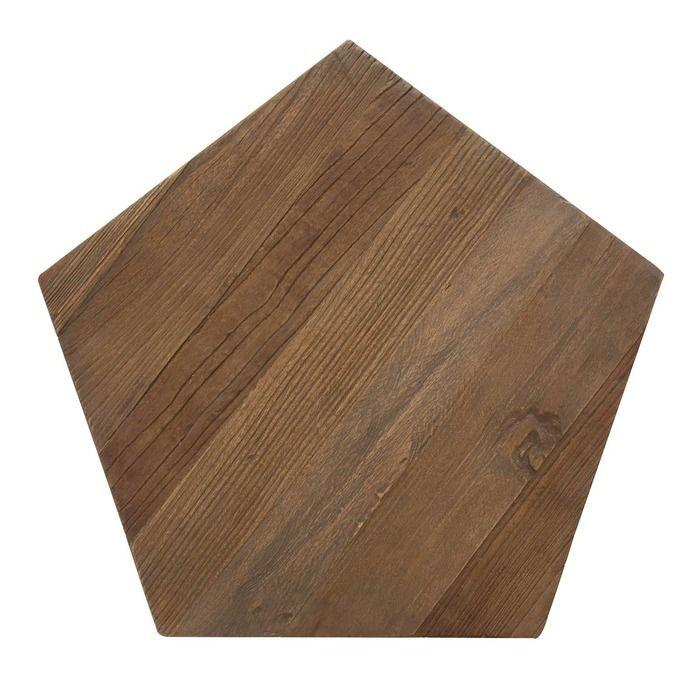 GYPE   Mesa auxiliar de madera de olmo reciclado y acero (50 x 50 x 59)