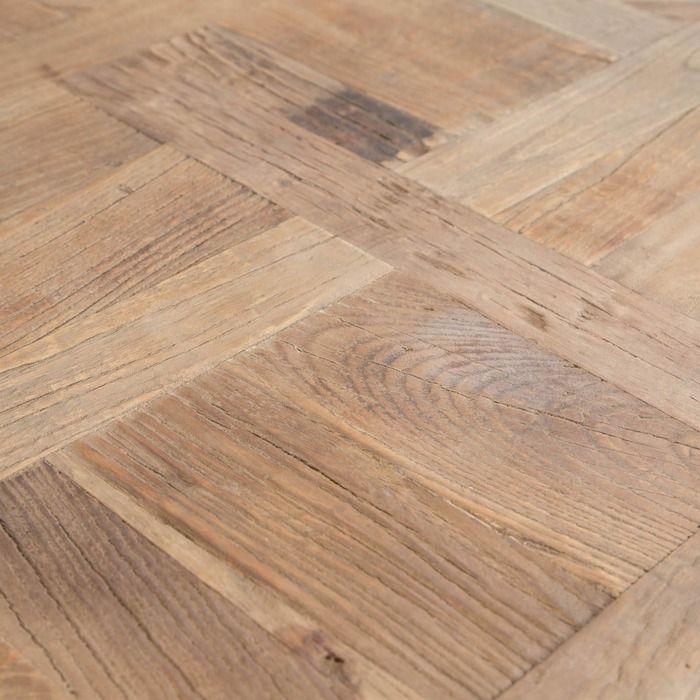SAX | Mesa auxiliar de madera de olmo reciclado y hierro (50 x 50 x 55)