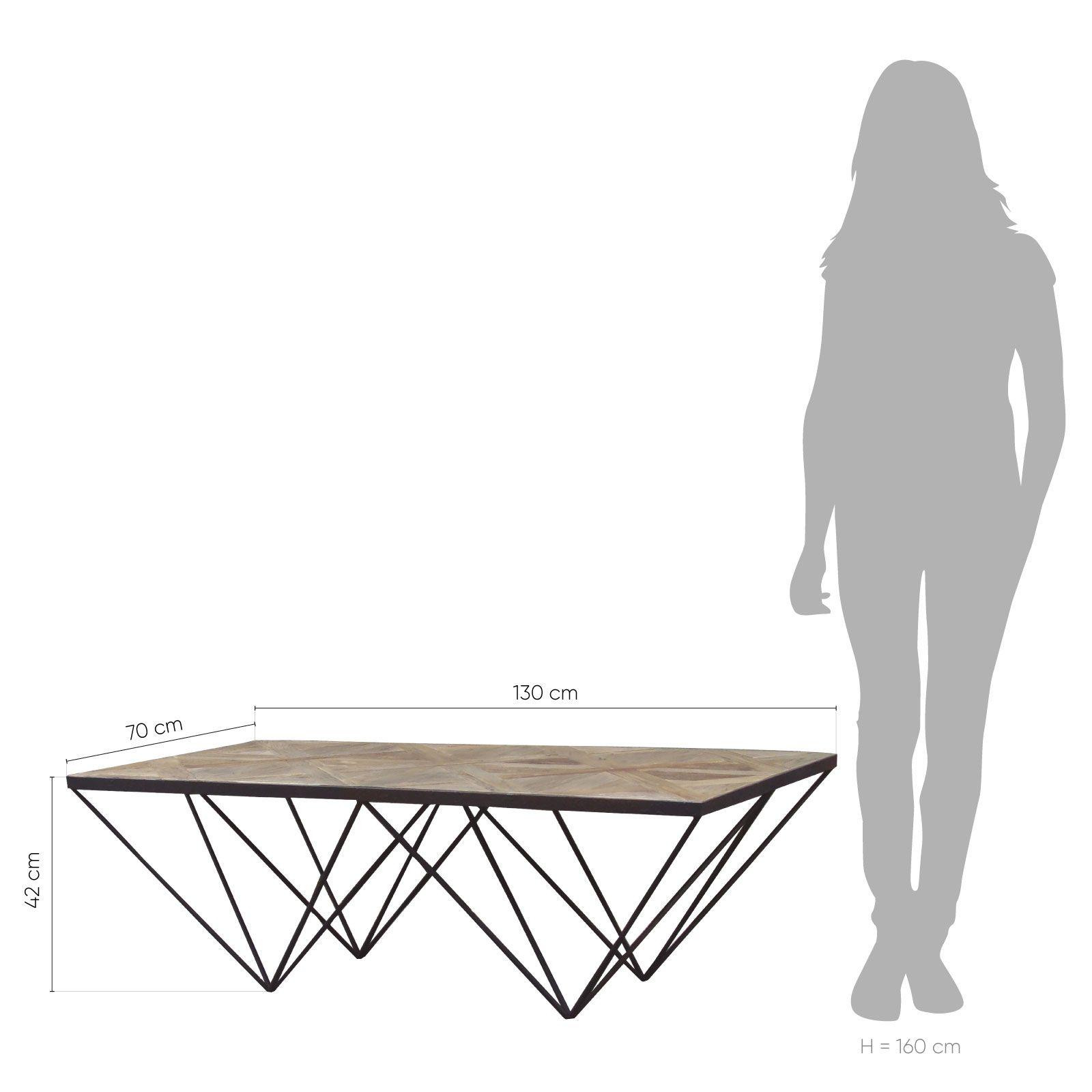 Table basse en bois d'orme recyclé et fer (130 x 70 x 42) | Série Sax