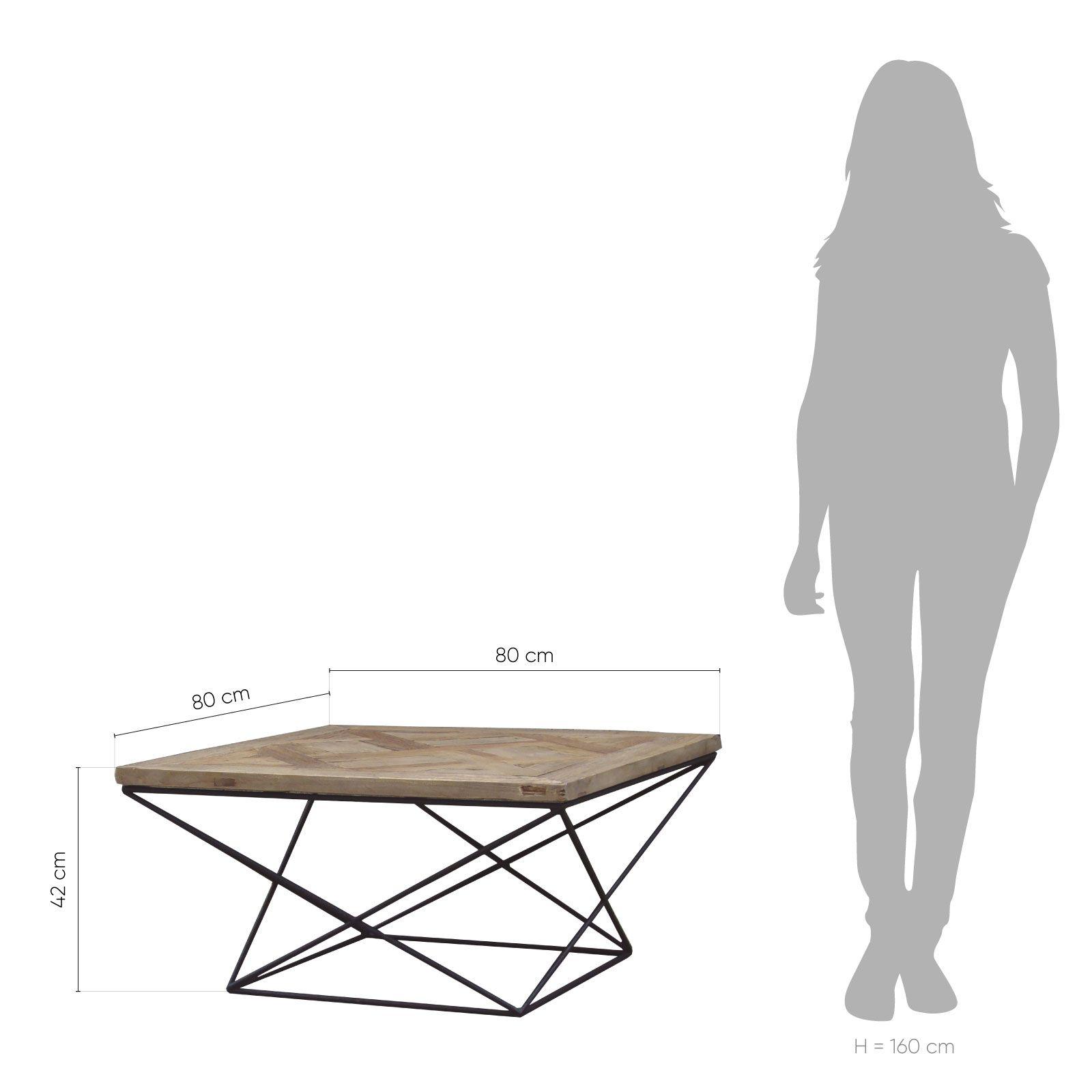 SAX | Mesa de centro de madera de olmo reciclado y hierro (80 x 80 x 42)