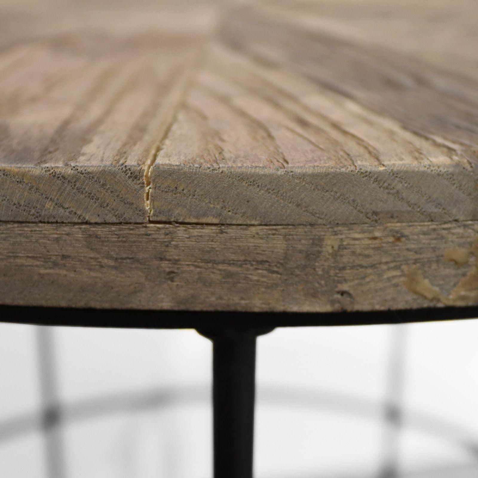 SAX | Mesa auxiliar de madera de olmo reciclado y hierro (50 x 50 x 60)