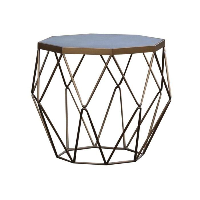 Table d'appoint en bois effet ciment et acier  (60 x 60 x 55) | Série Subor