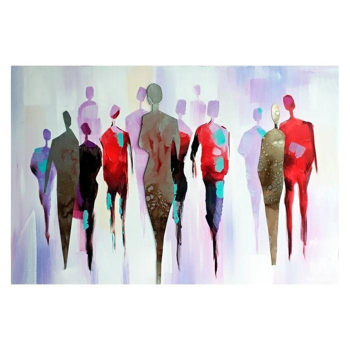 Tableau abstrait promeneurs (120 x 80 cm) | Série Abstrait