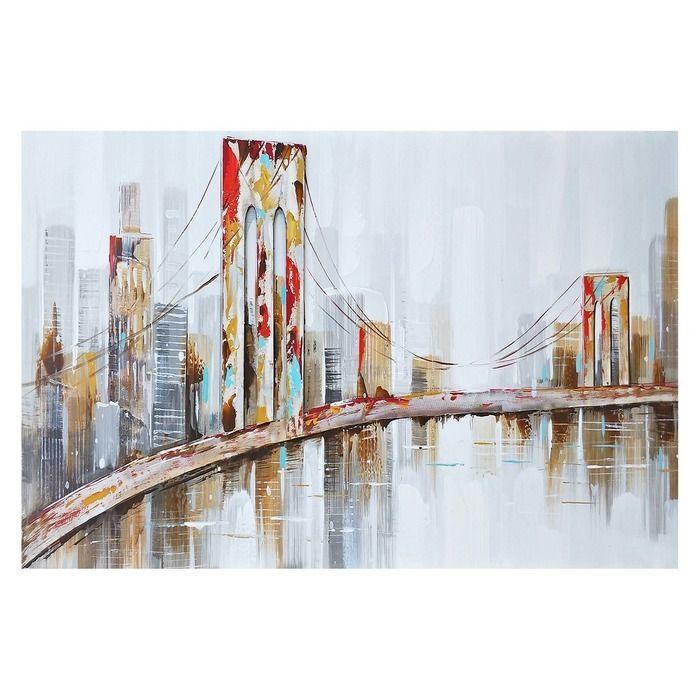 Tableau paysage urbain avec pont (120 x 80 cm) | Série Urbain