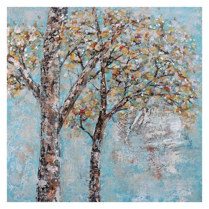 Tableau arbres automne ciel bleu (100 x 100 cm) | Série Paysage