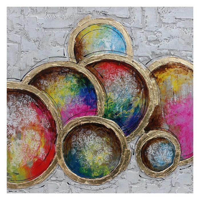 Tableau assiettes en couleur  (100 x 100 cm) | Série Objets