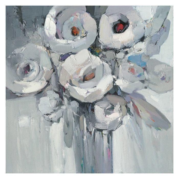 Tableau fleurs noir et blanc (100 x 100 cm) | Série Abstrait