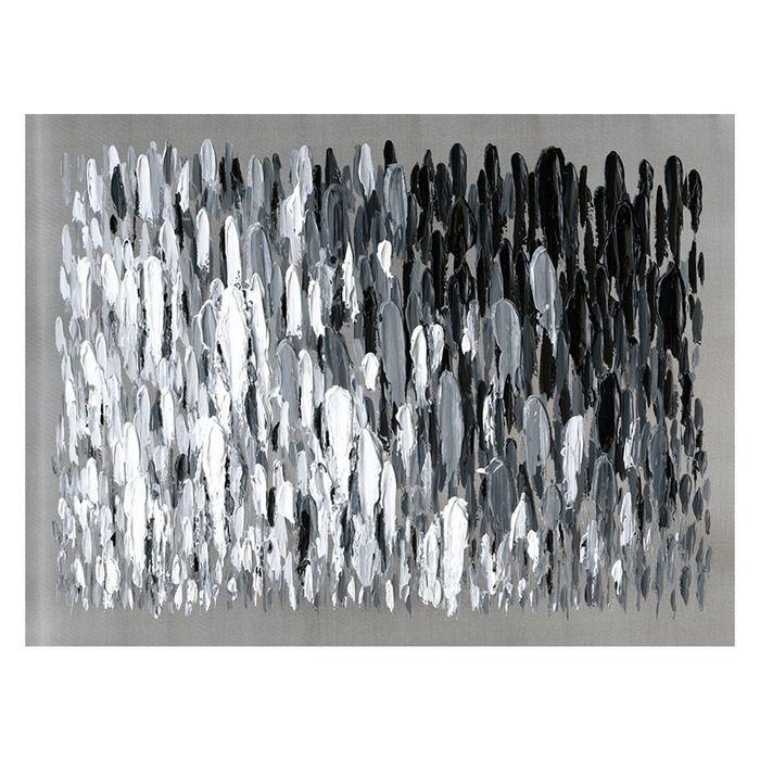 Tableau abstrait coups de pinceau noirs et blancs (120 x 90 cm) | Série Abstrait