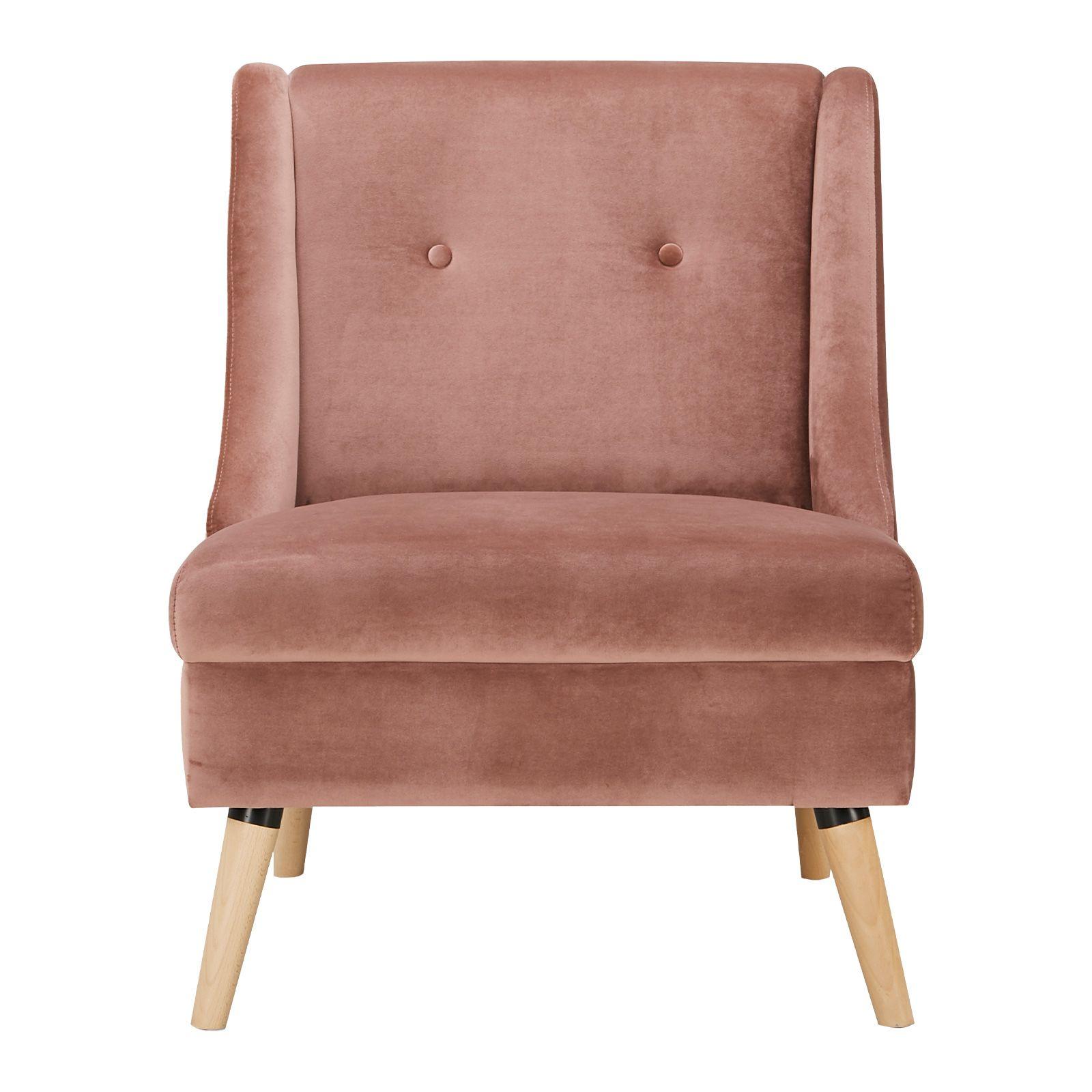 ROGAR | Sillón tapizado rosa (68 x 78 x 84 cm)