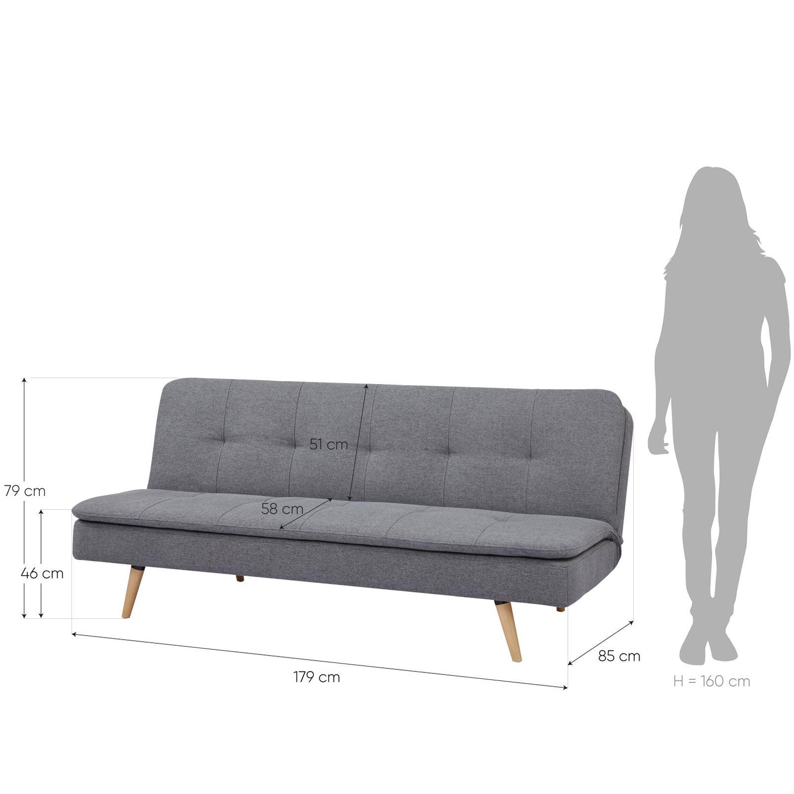 PERGAR | Sofá cama tapizado en gris (178 x 85 x 79 cm)