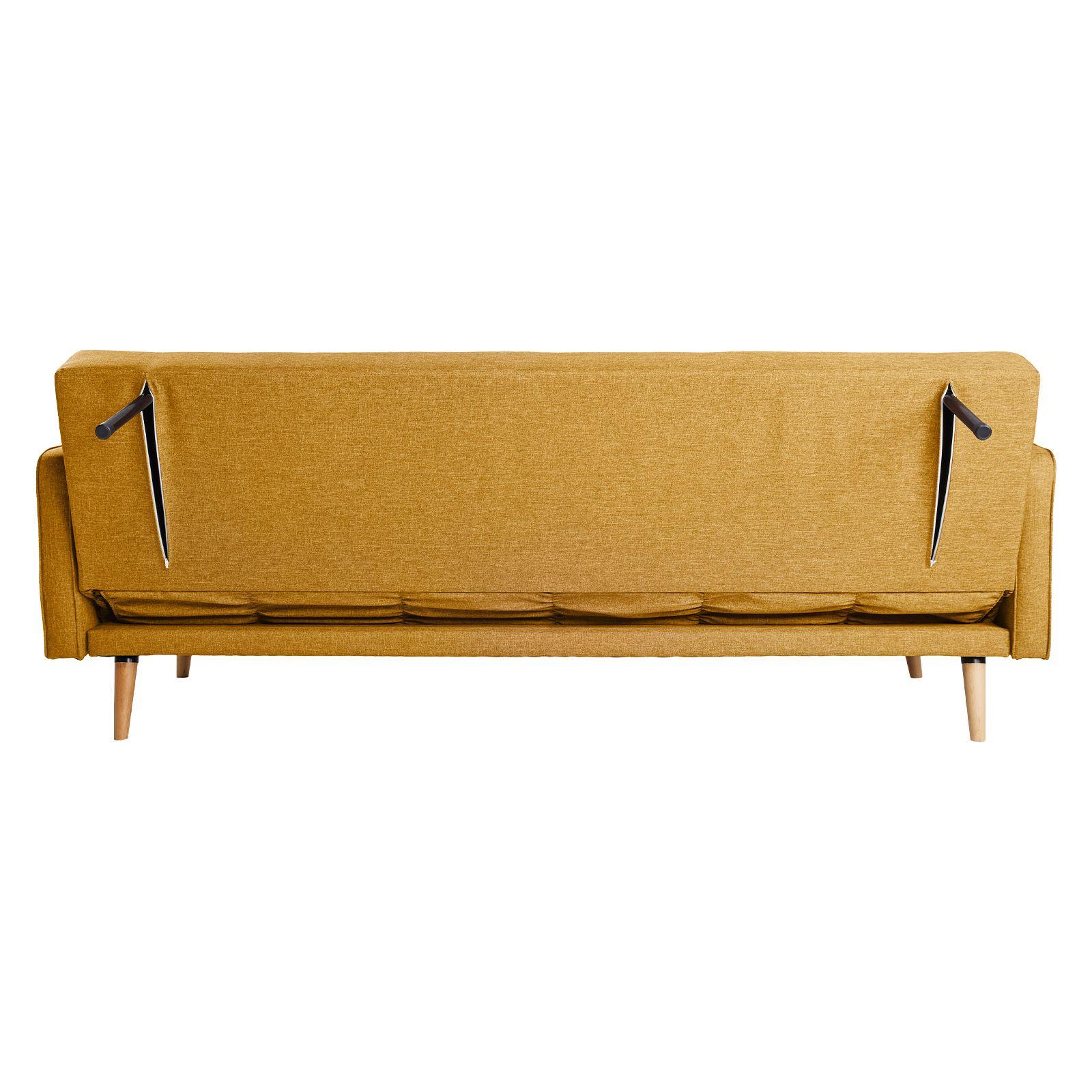 HAMILGON | Sofá cama con brazos tapizado en mostaza (208 x 86 x 81cm)