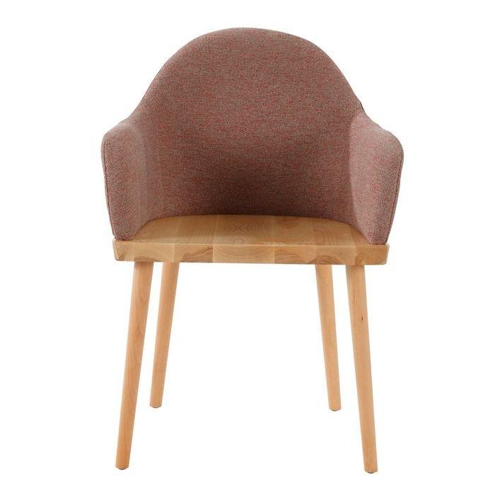 Chaise avec accoudoirs. Bois de frêne et revêtement beige (57 x 82 x 40,5 cm) | Série Beksand Linen