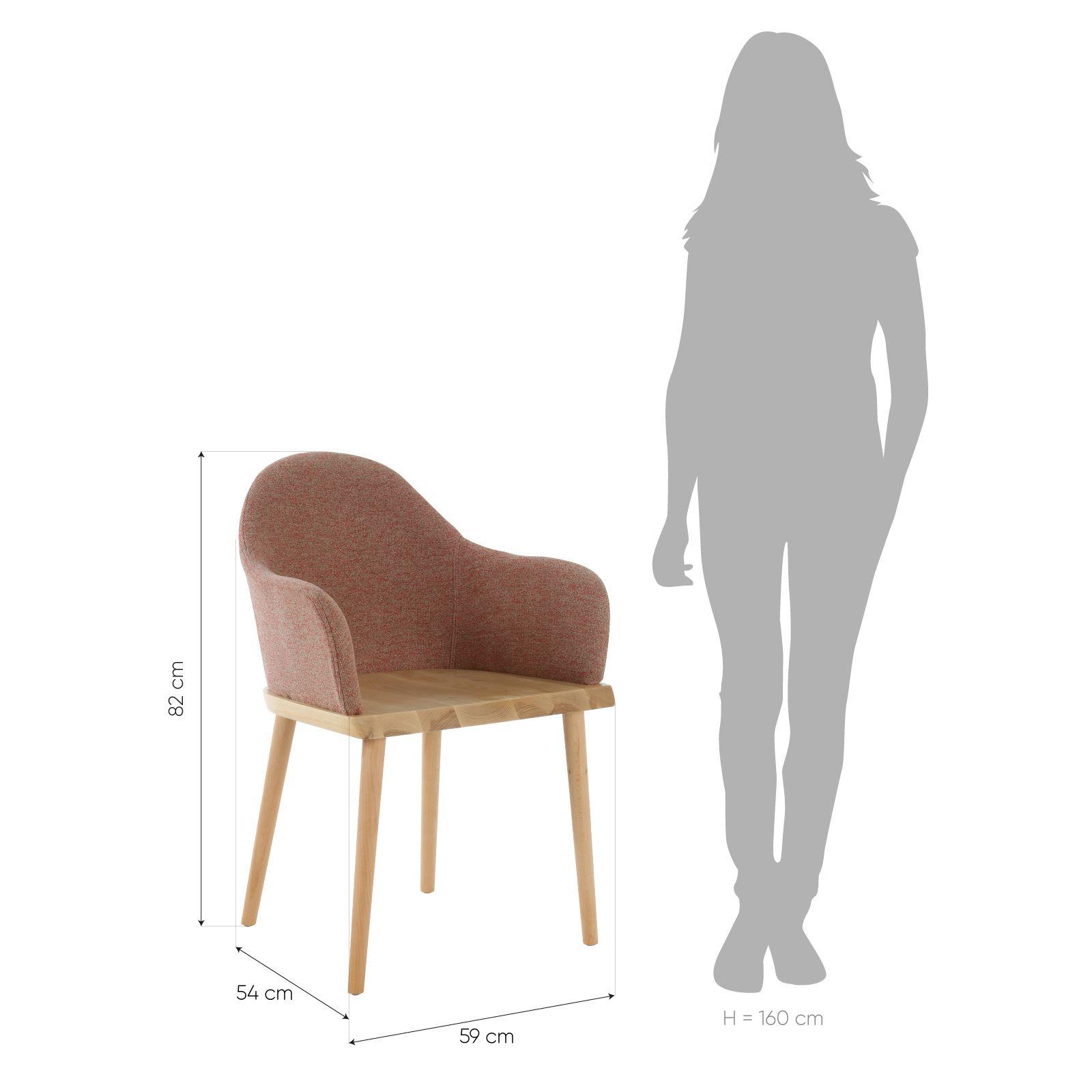 BEKSAND Linen | Silla con brazos. Madera de fresno y tapizado beige (57 x 54 x 82 cm)