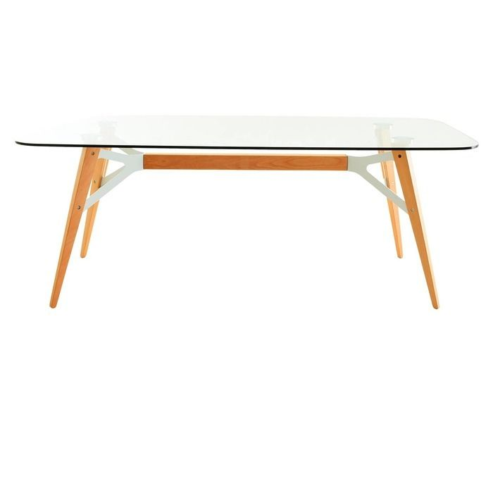 ALOP | Mesa de comedor con tapa de cristal (200 x 90 x 74´5 cm)