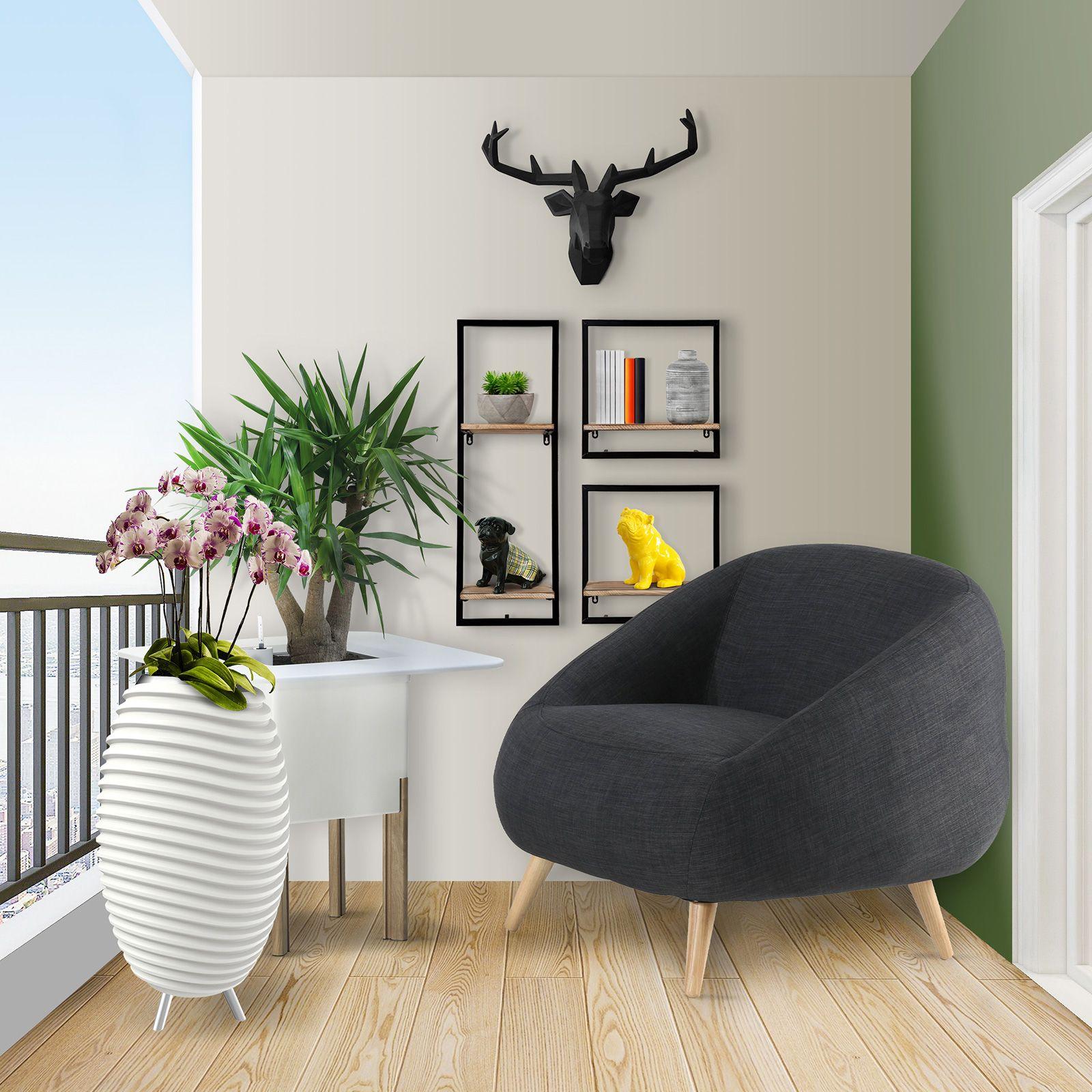 MARPE | Sillón con brazos tapizado gris oscuro (83,5 x 82,5 x 75,5 cm)