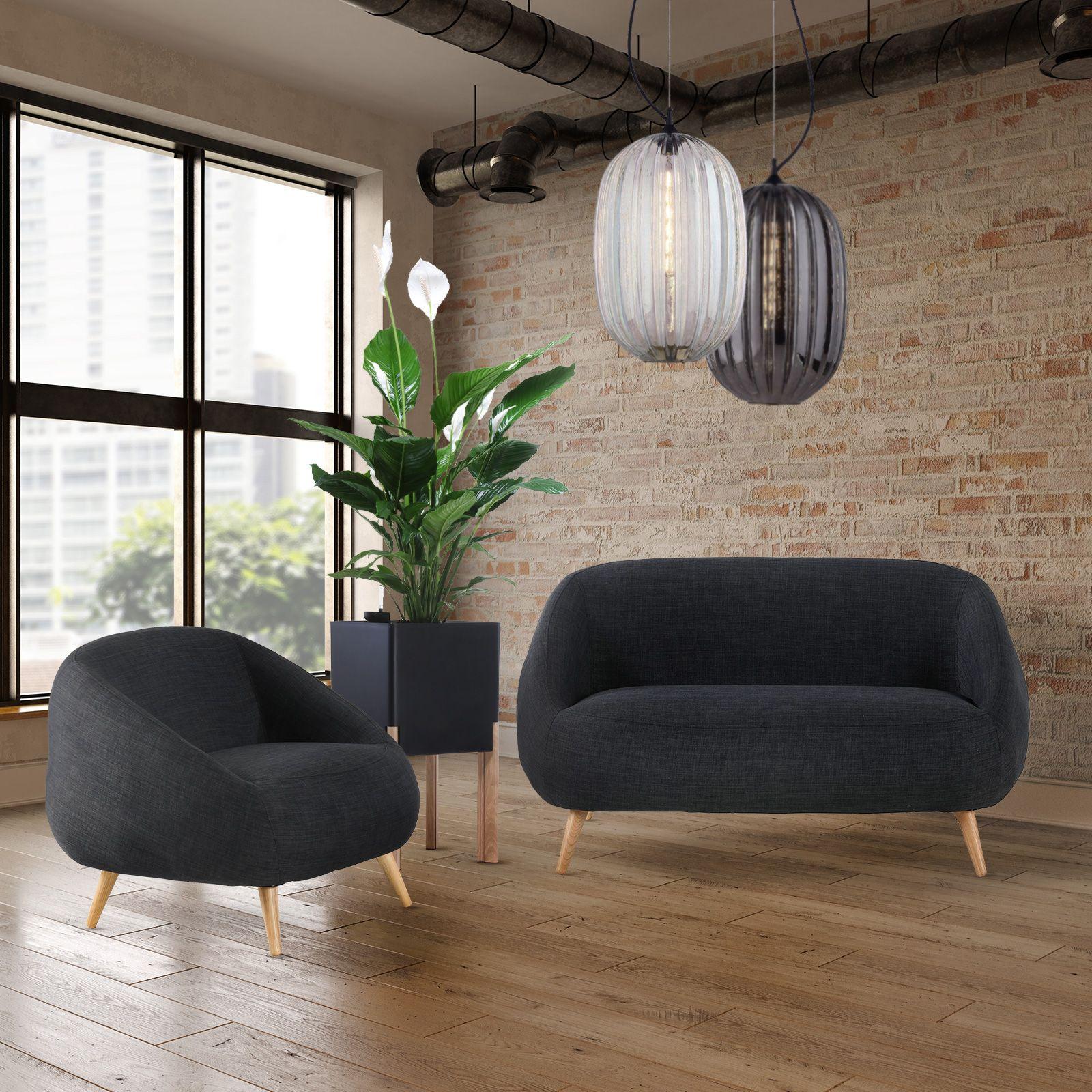 Canapé avec accoudoirs revêtement gris foncé (142,5 x 83,5 x 75,5 cm) | Série Marpe