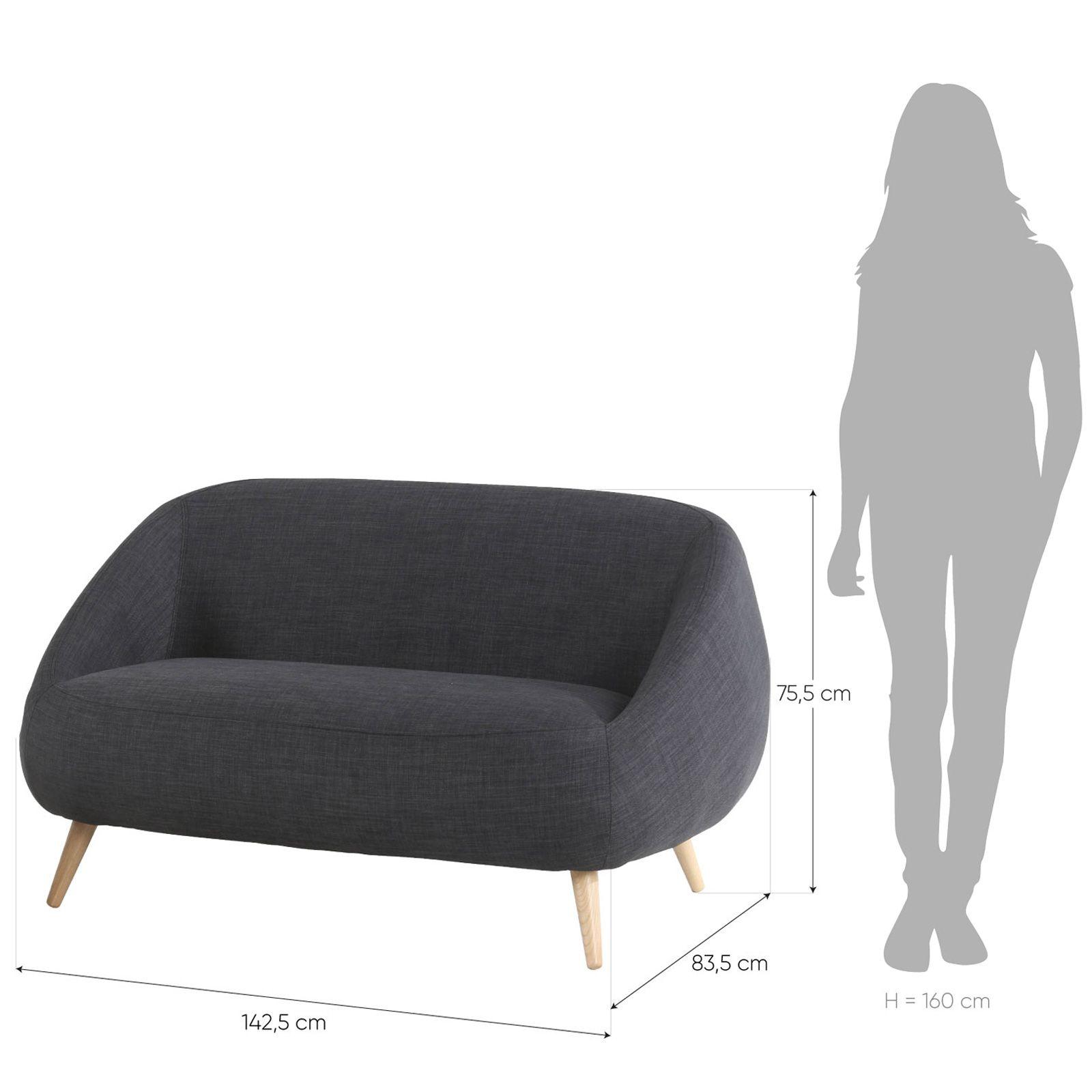 MARPE | Sofá con brazos tapizado gris oscuro (142,5 x 83,5 x 75,5 cm)