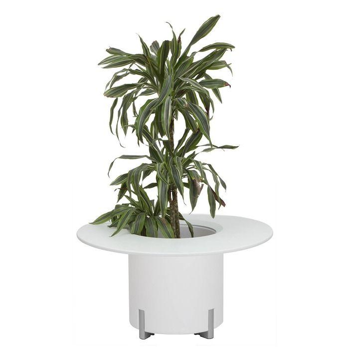 KIT Mediterráneo 45RB | Jardinera modular redonda blanca 45h patas aluminio + mesa redonda blanca + cubitera redonda blanca