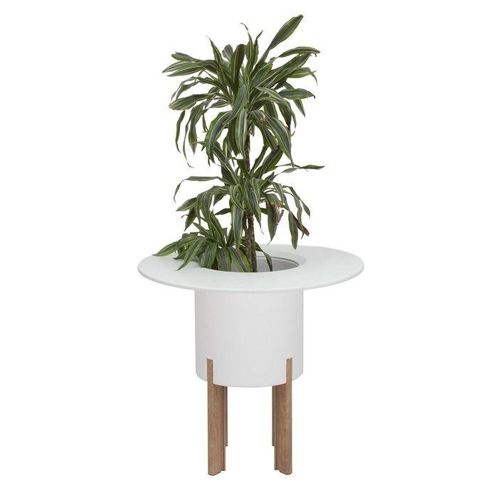 KIT Mediterráneo 75RB: Jardinière modulaire ronde blanche 75h pieds aluminium couleur bois + table ronde blanche + seau à glace rond blanc