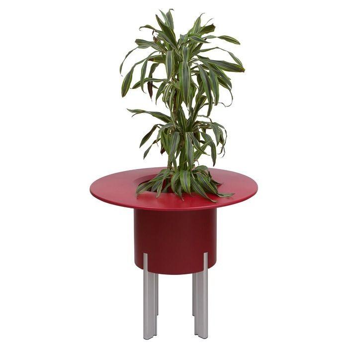 KIT Mediterráneo 75RR: Jardinière modulaire ronde rouge 75h pieds aluminium + table ronde rouge + seau à glace rond noir