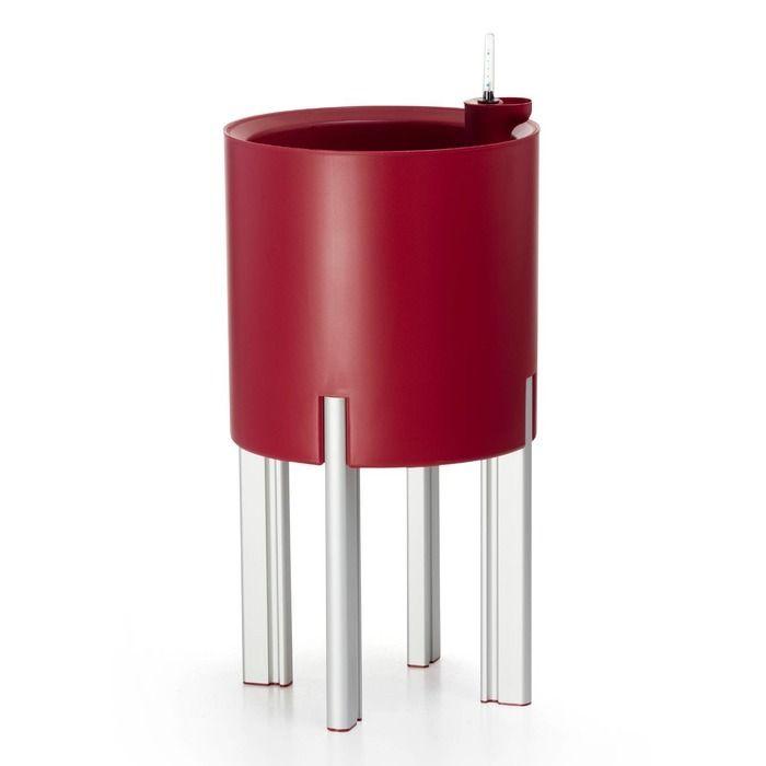 KIT Mediterráneo 45RR: Jardinière modulaire ronde rouge 45h pieds aluminium + table ronde rouge + seau à glace rond noir