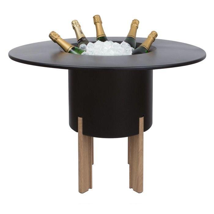 KIT Mediterráneo 75RN | Jardinera modular redonda negra 75h patas aluminio color madera + mesa redonda negra + cubitera redonda negra