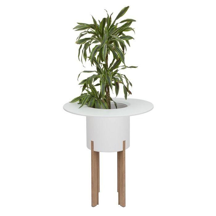 KIT Mediterráneo 95RB: Jardinière modulaire ronde blanche 95h pieds aluminium couleur bois + table ronde blanche + seau à glace rond blanc