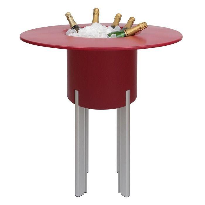 KIT Mediterráneo 95RR | Jardinera modular redonda roja 95h patas aluminio + mesa redonda roja + cubitera redonda negra