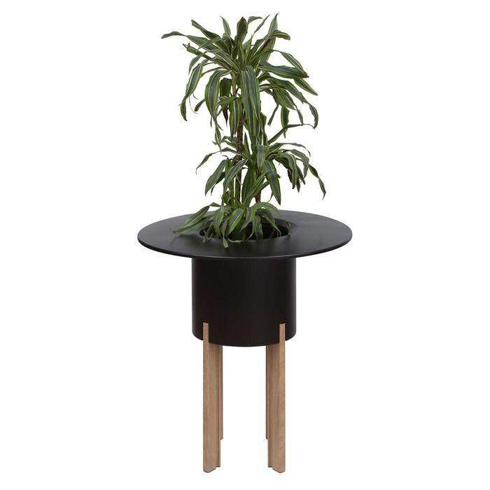 KIT Mediterráneo 95RN: Jardinière modulaire ronde noire 95h pieds aluminium couleur bois + table ronde noire + seau à glace rond noir