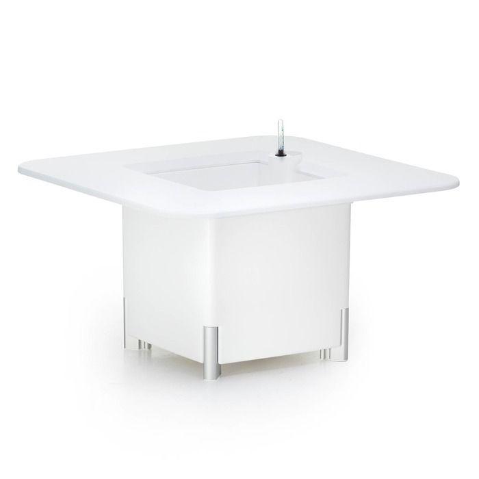 KIT Mediterráneo 45CB: Jardinière modulaire carrée blanche 45h pieds aluminium + table carrée blanche + seau à glace carrée blanche
