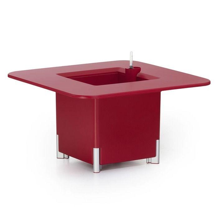 KIT Mediterráneo 45CR: Jardinière modulaire rouge 45h pieds aluminium + table carrée rouge + seau à glace carré noir