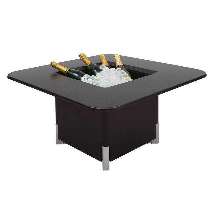 KIT Mediterráneo 45CN | Jardinera modular cuadrada negra 45h patas aluminio + mesa cuadrada negra + cubitera cuadrada negra