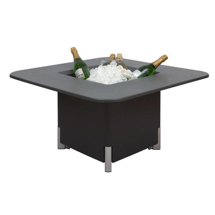 KIT Mediterráneo 45CA   Jardinera modular cuadrada antracita 45h patas aluminio + mesa cuadrada antracita + cubitera cuadrada blanca