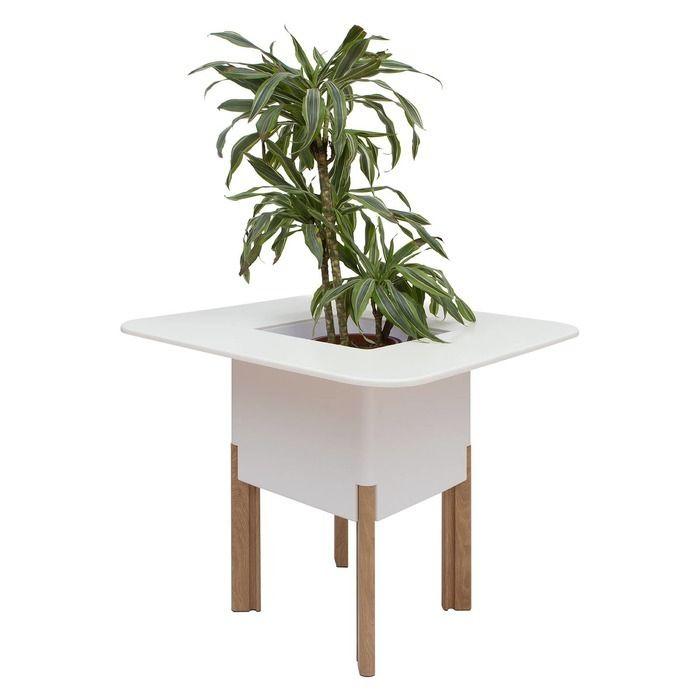KIT Mediterráneo 75CB | Jardinera modular cuadrada blanca 75h patas aluminio color madera + mesa cuadrada blanca + cubitera cuadrada blanca