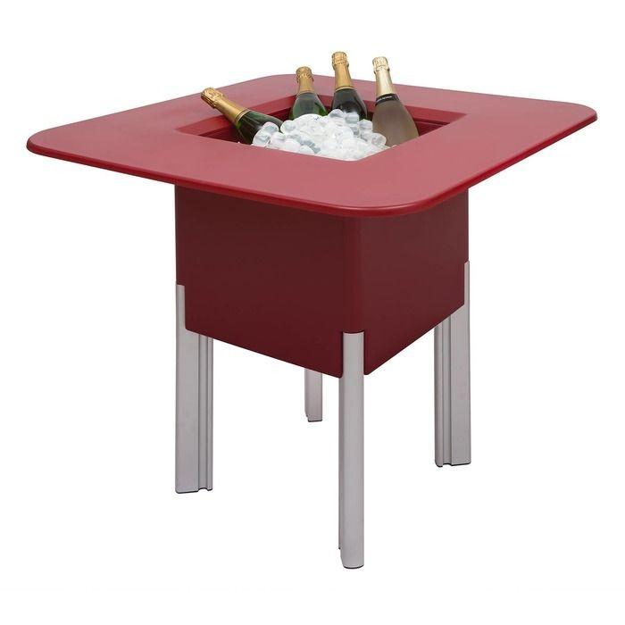 KIT Mediterráneo 75CR: Jardinière modulaire carrée rouge 75h pieds aluminium + table carrée rouge + seau à glace carré noir