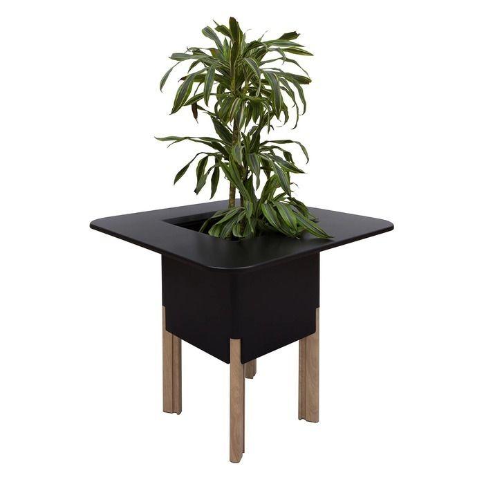 KIT Mediterráneo 75CN: Jardinière modulaire carrée noire 75h pieds aluminium couleur bois + table carrée noire + seau à glace carré noir