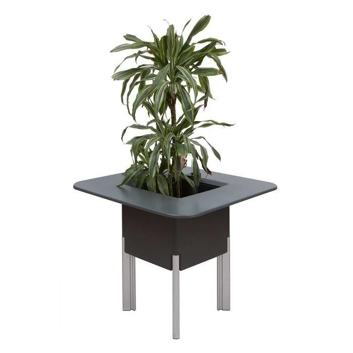 KIT Mediterráneo 75CA: Jardinière modulaire carrée anthracite 75h pieds aluminium + table carrée anthracite + seau à glace carré blanc