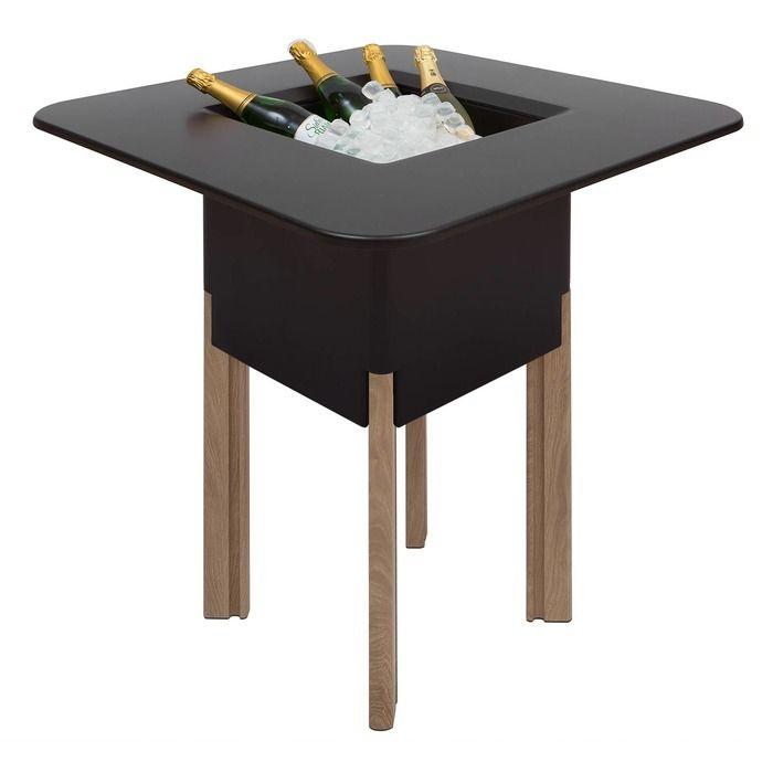 KIT Mediterráneo 95CN | Jardinera modular cuadrada negra 95h patas aluminio color madera + mesa cuadrada negra + cubitera cuadrada negra