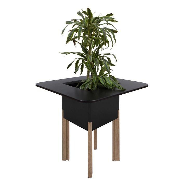 KIT Mediterráneo 95CN: Jardinière modulaire carrée noire 95h pieds aluminium couleur bois + table carrée noire + seau à glace carré noir