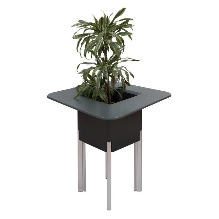 KIT Mediterráneo 95CA | Jardinera modular cuadrada antracita 95h patas aluminio + mesa cuadrada antracita + cubitera cuadrada blanca