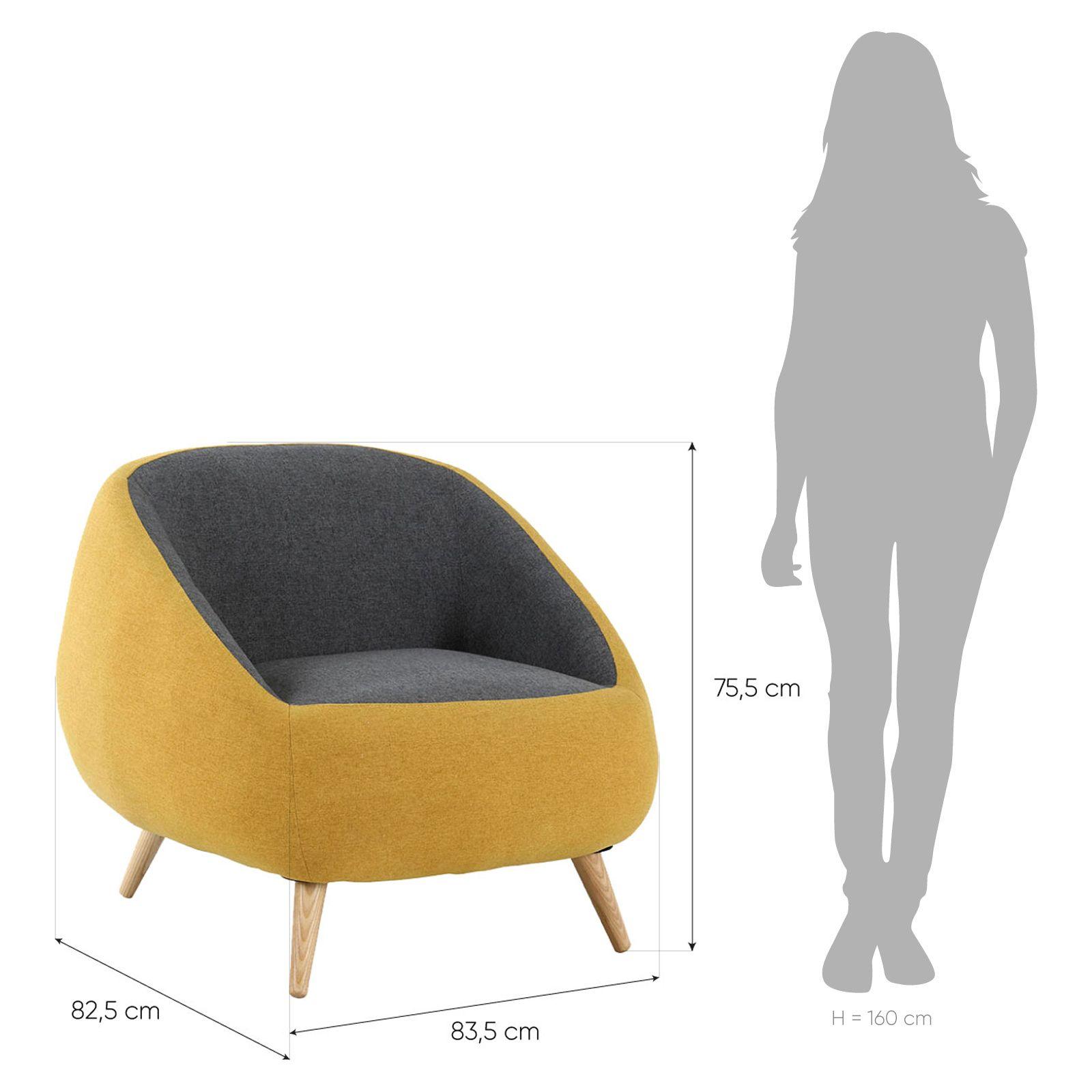 MARPE   Sillón con brazos tapizado bicolor mostaza/gris (83,5 x 82,5 x 75,5 cm)