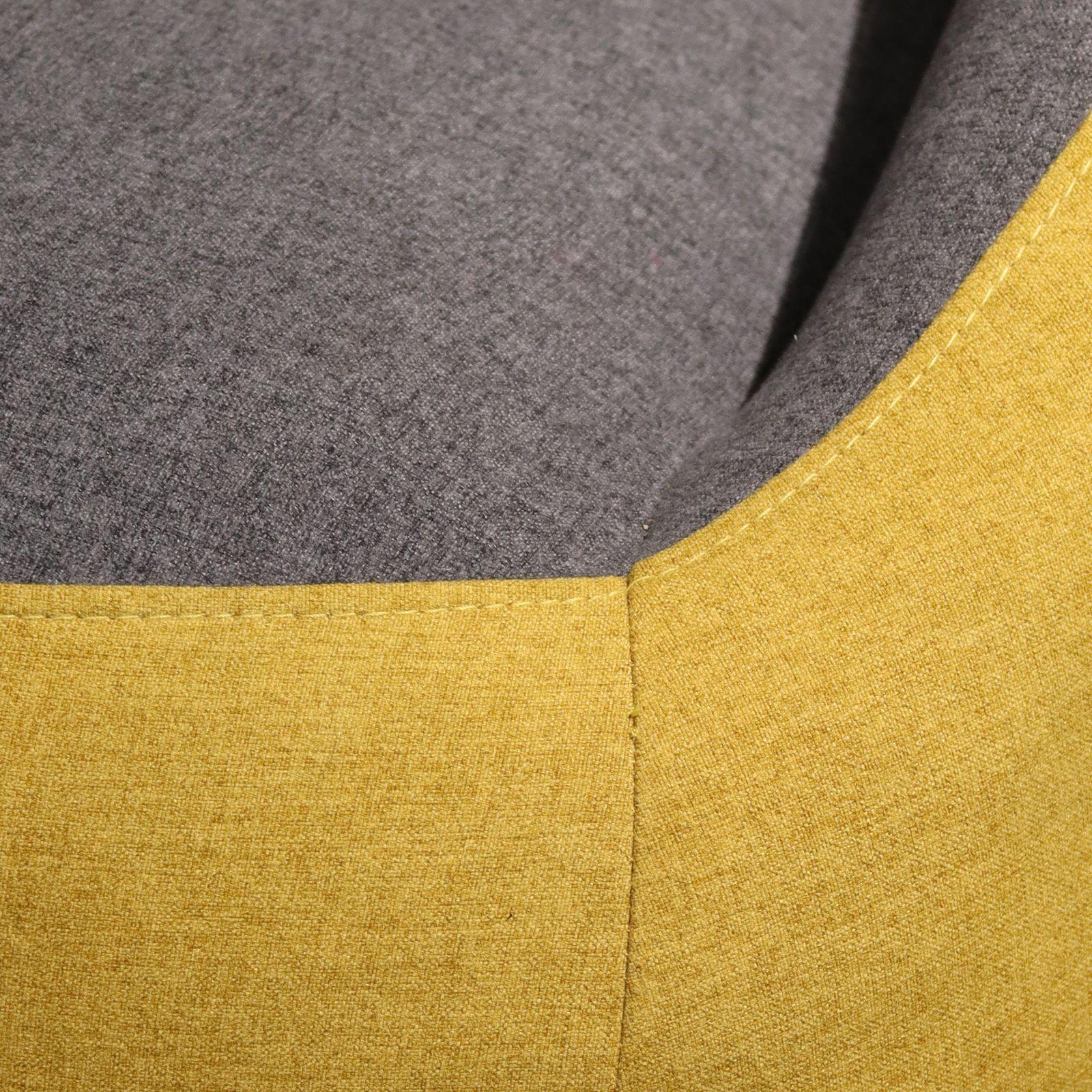 MARPE | Sofá con brazos tapizado bicolor mostaza/gris (142,5 x 83,5 x 75,5 cm)