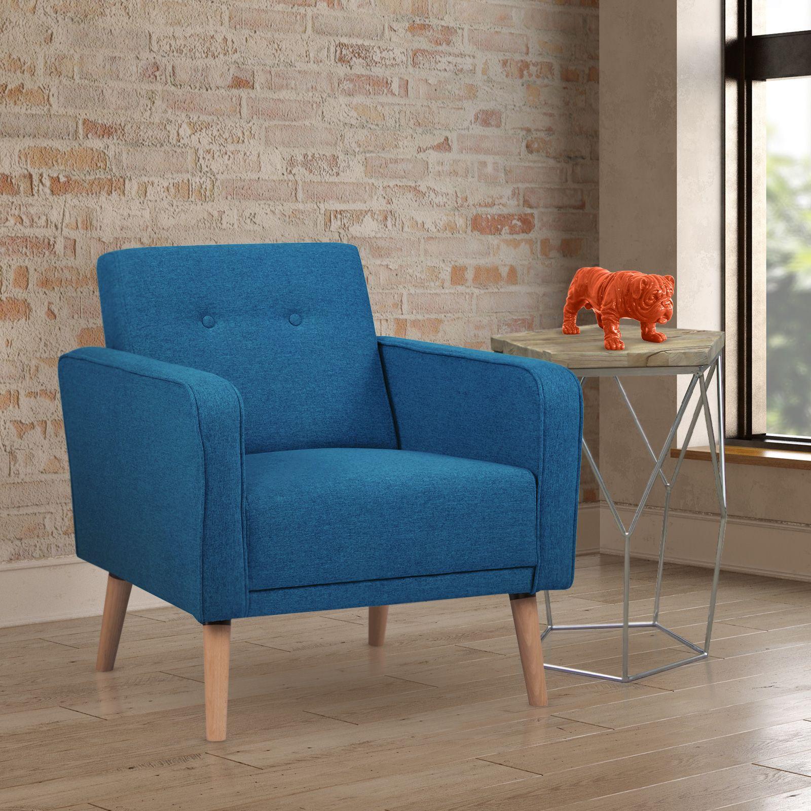 NOYAZU | Sillón tapizado azul verdoso (70 x 77 x 77 cm)