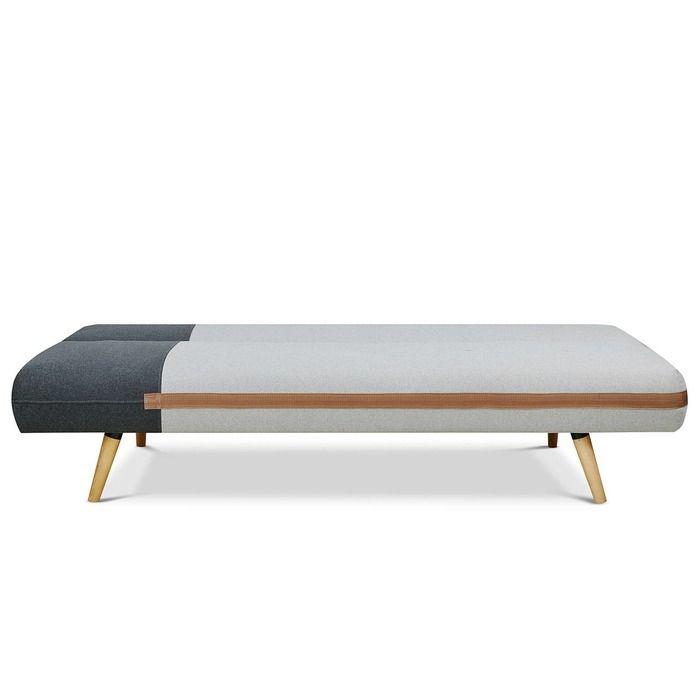 BICOL   Sofá cama tapizado bicolor negro/gris (186 x 87 x 79 cm)