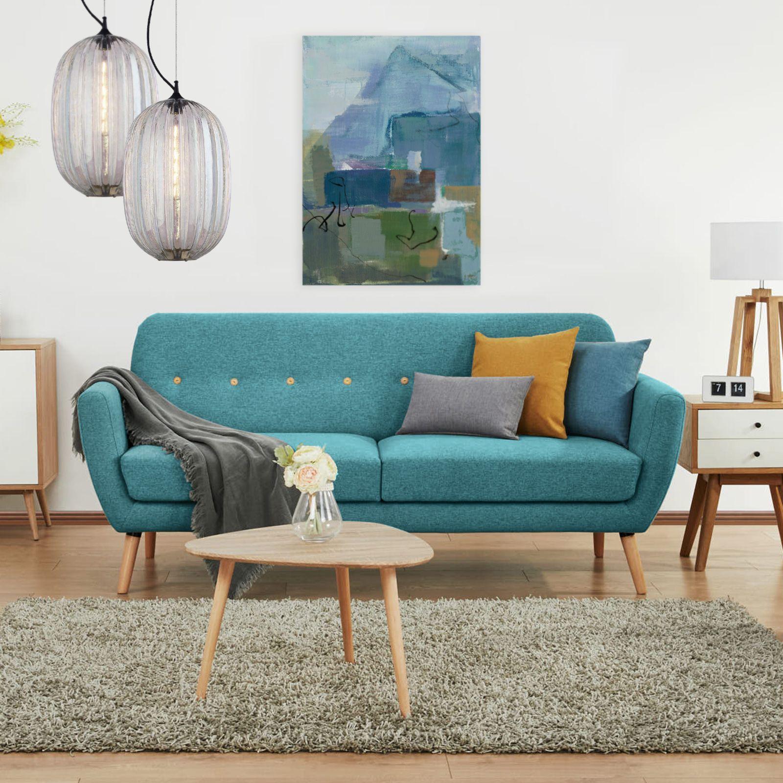AMALFI | Sofá tapizado azul verdoso (193 x 79 x 86 cm)