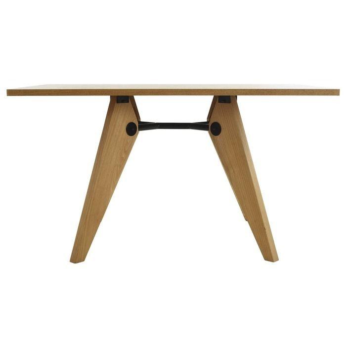 VEGA | Mesa de comedor en madera de fresno natural y metal (130 x 80 x 73 cm)