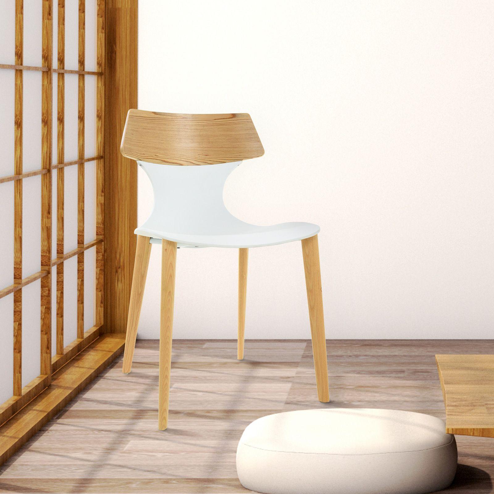 JANITZ   Silla de madera de fresno natural y policarbonato (49 x 49,5 x 79 cm)