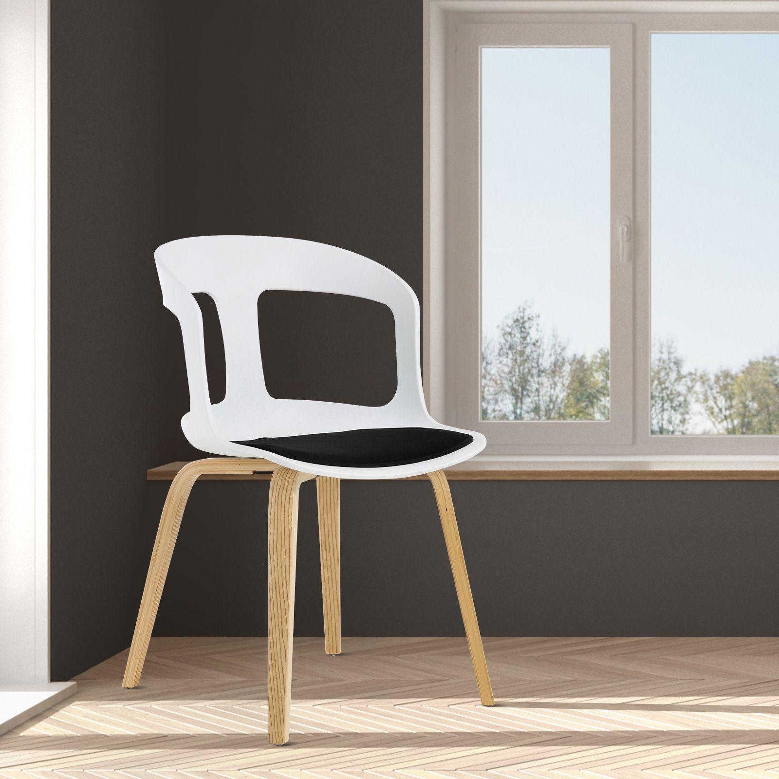 JORITZ | Silla de madera de fresno natural y policarbonato. Incluye cojín (50 x 53 x 82 cm)